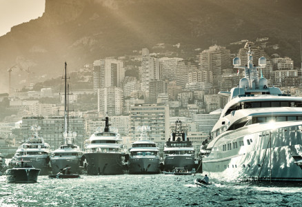 Collection of superyachts at the 2021 Monaco Yacht Show